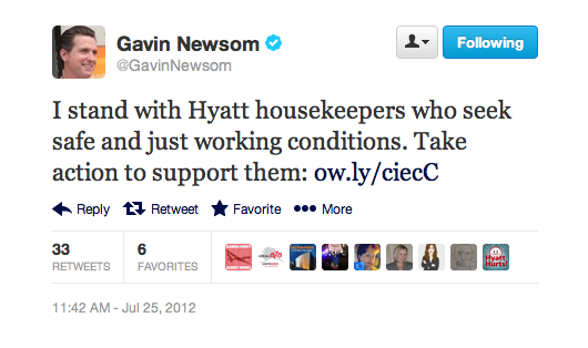 Gavin Newsom stands with Hyatt housekeepers?